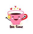 cute flat kawaii mug with tea vector image