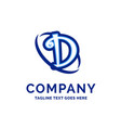 d company name design blue logo design vector image vector image
