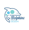 dolphine logo design abstract emblem with dolphin vector image vector image