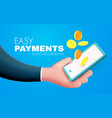 easy online payments concept with cartoon hand vector image