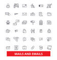emails and mails letters correspondence vector image vector image