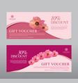 gift voucher for spa hotel resort flowers vector image