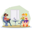 girl reading book to her friends for internet vector image vector image