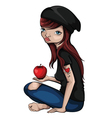 Girl-With-Apple vector image vector image