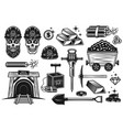gold mining and treasure digging objects vector image