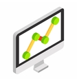Graph on the computer monitor isometric 3d icon vector image vector image