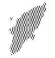 Halftone gray greek rhodes island map vector image