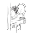 Hand drawn chair table and mirror vector image