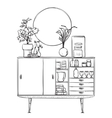 Hand drawn cupboard with dishes Furniture vector image