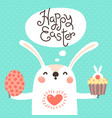 happy easter card with cute bunny white rabbit vector image vector image
