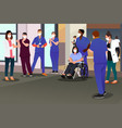 healthcare workers applauding recovered patient vector image