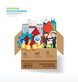 Infographic business design open box with finance vector image