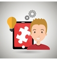 man teamwork isolated icon design vector image vector image
