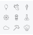 Newborn heart and lab bulb icons Ice cream
