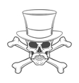 outlaw skull with mustache high hat vector image