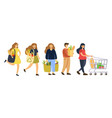 people carry food in packages in shop vector image
