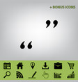 quote sign black icon at vector image vector image