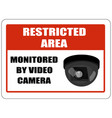 restricted area sign monitored video camera vector image vector image