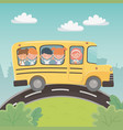 school bus transport with group kids in the vector image vector image