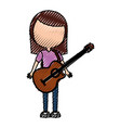 scribble women guitar cartoon vector image vector image