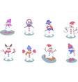 set snowman cartoon winter christmas character vector image