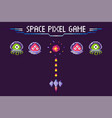 space pixel game aliens and spaceship pixelated vector image vector image