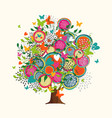 spring tree concept made of hand drawn flowers vector image vector image