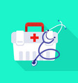 stethoscope first aid kit icon flat style vector image