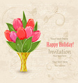 vintage invitation card with spring flowers in vector image vector image