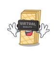 virtual reality waffle mascot cartoon style vector image