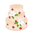 Wedding cake with cream red roses vector image vector image