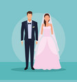 wedding couple holding hands vector image vector image