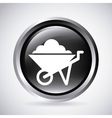 wheel barrow in silver button isolated icon vector image