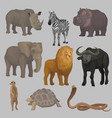 wild african animals set hippopotamus elephant vector image