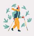 woman nordic walker vector image vector image