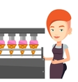 Worker of factory producing ice-cream vector image vector image
