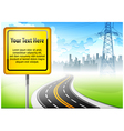 yellow sign road vector image vector image