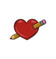 heart pierced with a pencil vector image