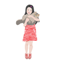 Girl Holding Her Cat vector image