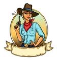 Pretty Cowgirl holding smoking gun vector image