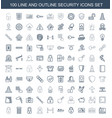 100 security icons vector image vector image