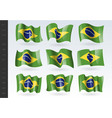 3d waving flag brazil isolated on white vector image vector image