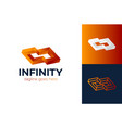 abstract box cube infinity logo icon template vector image