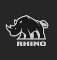 angry rhino monochrome logo on a dark background vector image vector image