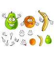 Banana pear and orange smiling fruits vector image