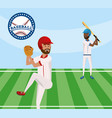 baseball player competition game in the field vector image vector image