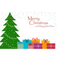 beautiful card with christmas tree toys vector image