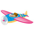 blue airplane with pink wings vector image vector image