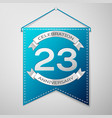 blue pennant with inscription twenty three years vector image vector image