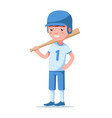 boy baseball player is standing and holding a bat vector image vector image